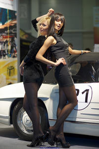 Hostesses in black pantyhose